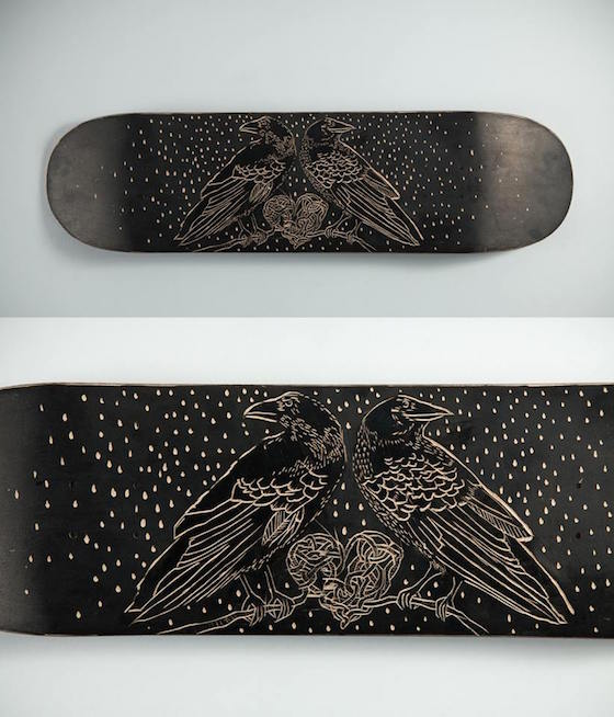 Ryan Livingstone Contemporary Canadian Toronto Artist in the studio New Brunswick Crow crows Heart Art Skateboard Concrete Fundraiser